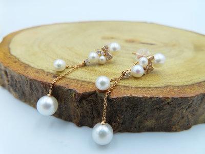 %玉承珠寶%天然珍珠14k金蝴蝶結鑽石垂墜式耳環DE1