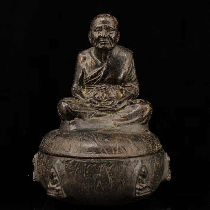 一0522  西藏寺院收老擦擦打造活佛舍利寶罐 重1719克 高23釐米 寬16釐米