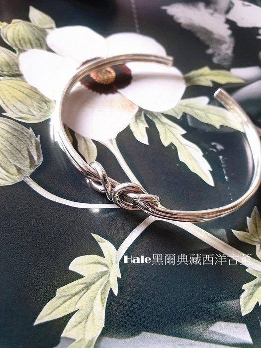黑爾典藏西洋古董 ~純銀 925銀 典雅愛型雙扭半開手環 ~美國品牌時尚走秀雜誌