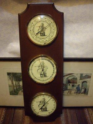 歐洲古物時尚雜貨歐洲古物 船圖三功能錶HYGROSTAR THERMOSTAR BAROMETER擺飾品 古董收藏 小瑕
