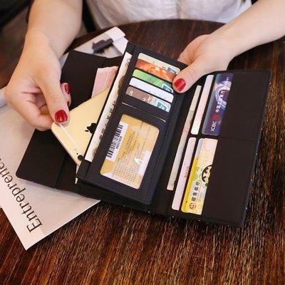 ☜男神閣☞女士錢包女 長款磨砂 日正韓大容量多功能三折女式錢夾皮夾手拿包