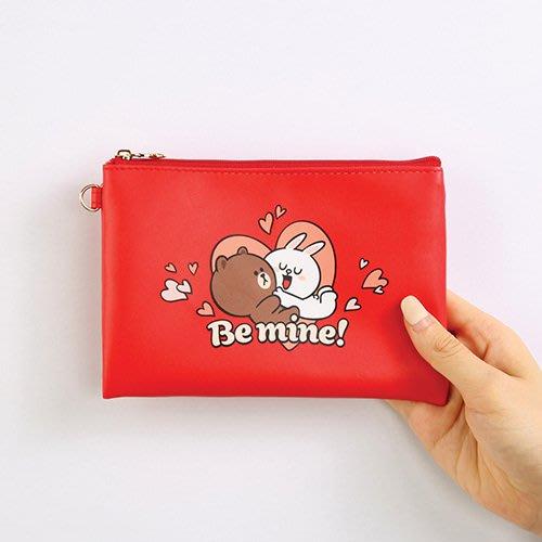 好心情日韓正品雜貨『韓國 Monopoly』BROWN & FRIENDS 愛心扁平收納袋S尺寸