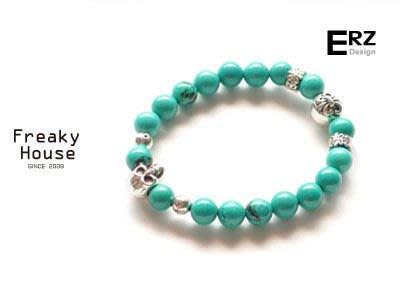 *~Freaky House~* 台灣新銳設計師品牌ERZ土耳其石骷髏彈性串珠手鍊手環-藍綠/可訂做