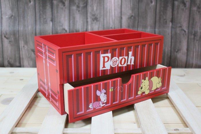 迪士尼 小熊維尼貨櫃三格單抽盒