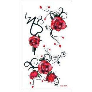 【萌古屋】M系列紅玫瑰圖騰 - 男女防水紋身貼紙原宿刺青貼紙WM-199
