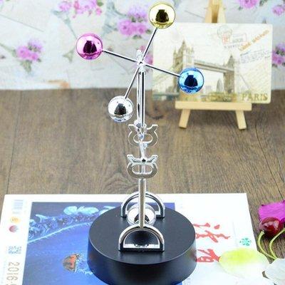 懸浮擺件 永恒天體彩球永動儀 電動旋轉磁性搖擺器 混沌擺牛頓擺小擺件 1色
