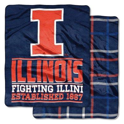 [現貨]NCAA大學球隊雙面毛毯 伊利諾大學Illinois Fighting Illini美式空調毯午睡交換生日禮品