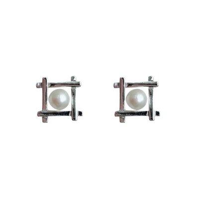 加恩韓版簡約立體幾何形耳釘 個性s925銀鑲嵌淡水珍珠耳釘 跨境銀飾12311
