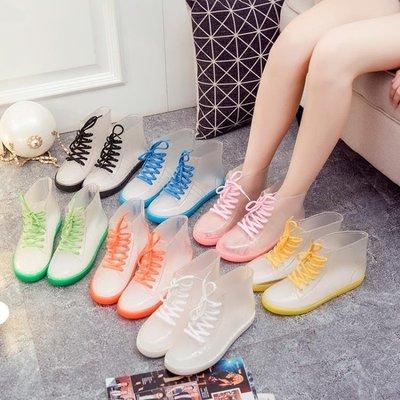 雨鞋果凍成人透明雨靴膠鞋防水鞋防滑韓國學生女短筒   全館免運