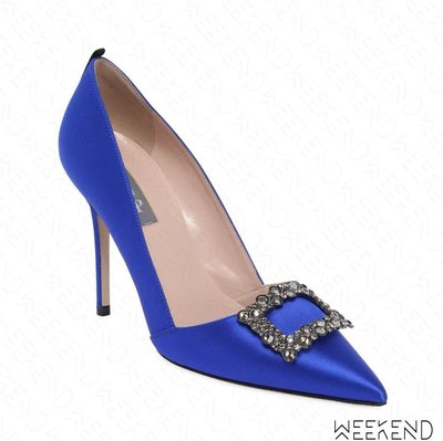 【WEEKEND】 Sarah Jessica Parker SJP Windsor 緞面 鑲鑽 高跟鞋 藍色