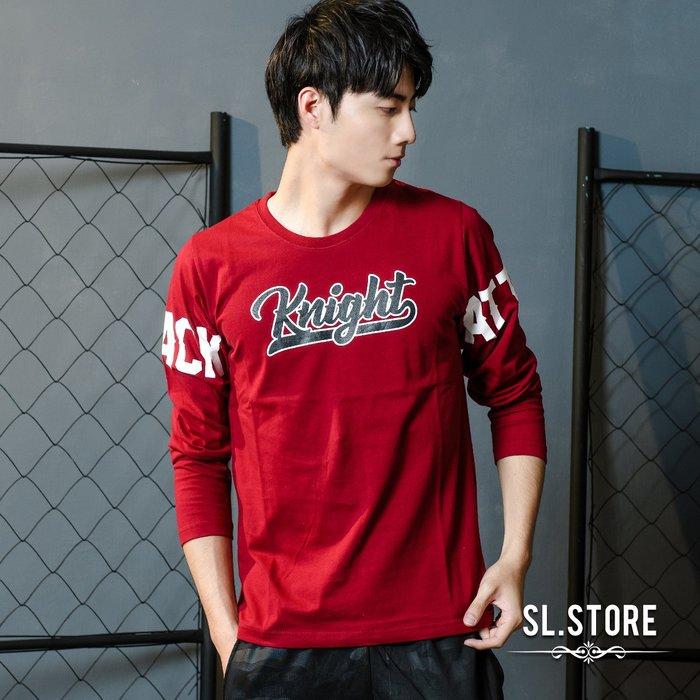 SL Store【YH575】Knight美式雙袖胸前文字長T.紅/黑/M/L/XL