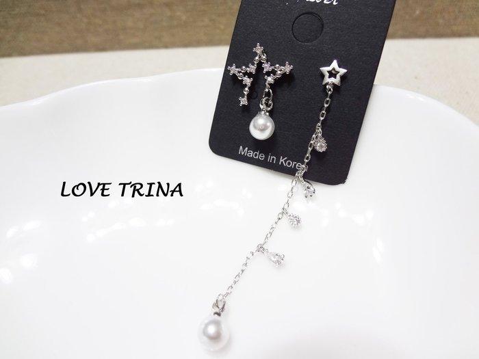 【Love Trina】A4506B-8160。 925銀針。不對稱亮鑽星星+垂墜感耳針式耳環--銀針(1色)