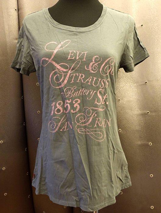 近全新 美國品牌亞洲版 LEVI'S 灰綠色腰身設計款短袖 T 恤 短 T!免運費!