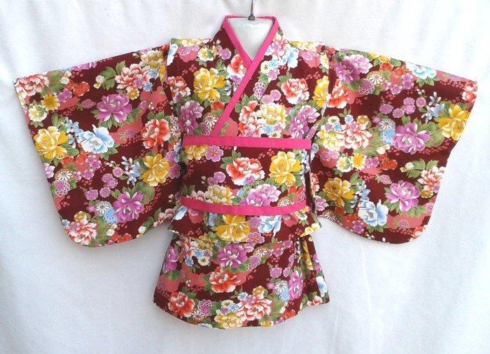 小雅兒童工作室~~純手工製作~~短版蝴蝶袖+小包袖旗袍洋裝+雙色腰帶(紅色.燙金百花齊放