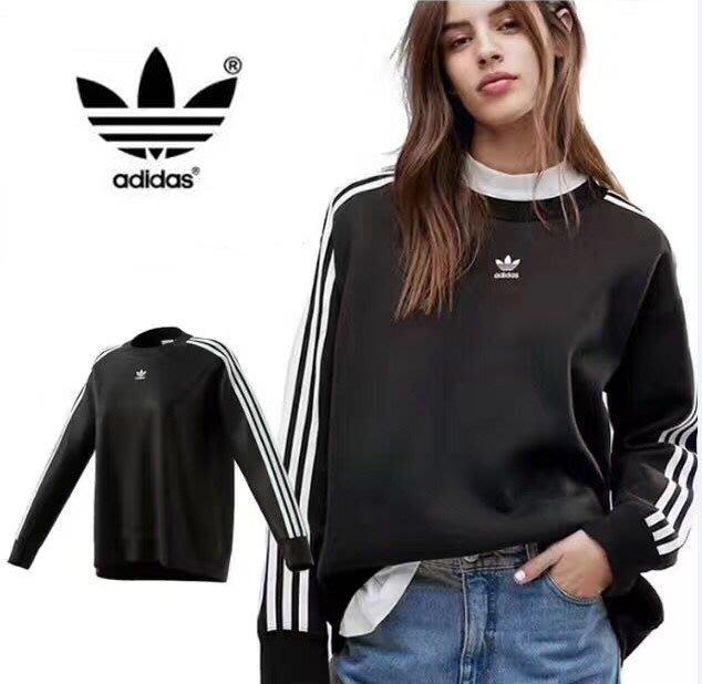 新款adidas 三葉草 愛迪達男女長袖T恤 棉質圓領長袖上衣 時尚運動風 俐落穿搭 CE2466