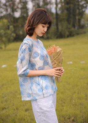 原創夏季高級苧麻清新印花套頭式短衫(老銀屋)