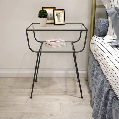 鋼化玻璃床頭櫃($680包送貨) 北歐極簡金色鐵藝邊幾現代簡約沙發邊角幾臥室