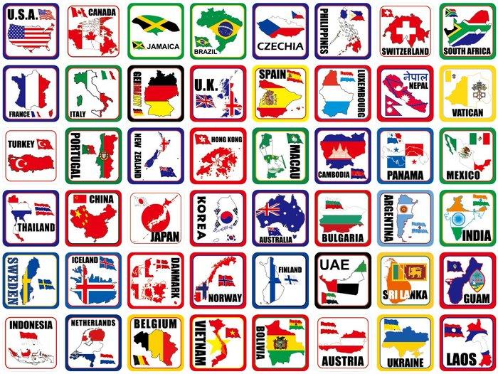領土款式,斯洛伐克、韓國、美國、加拿大、西班牙、葡萄牙。5X5公分。共6個國家