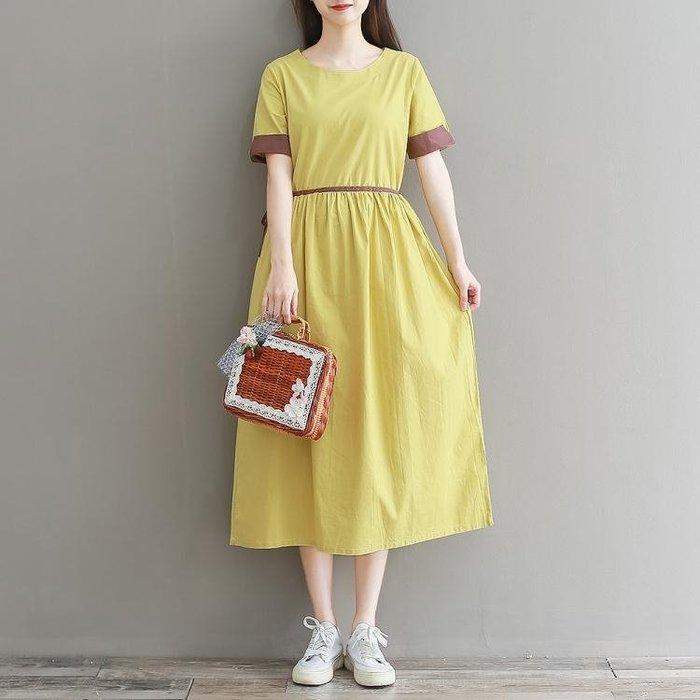 棉麻洋裝 2020夏季新款女裝文藝棉麻拼色寬鬆大碼氣質優雅中長款連身裙 站CXZJ
