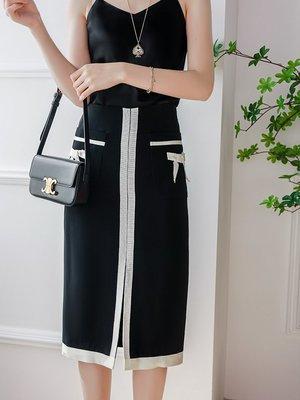 UM 夏季新款優雅氣質撞色蝴蝶結裝飾高腰前開叉半衫裙 及膝裙 窄裙
