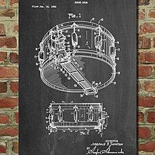[復古藝術海報] - 1963年 小鼓專利設計圖原型|樂器 鼓 [美國授權](有現貨)