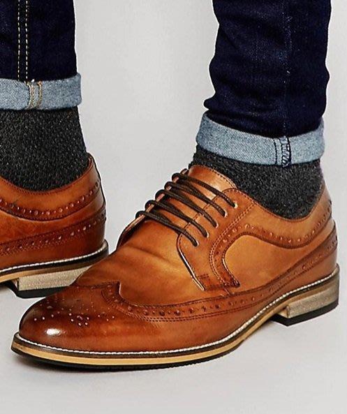 ◎美國代買◎ASOS經典巴洛克雕花焦糖咖啡色鞋帶款英倫紳士雅痞風雕花鞋帶款皮鞋~歐美街風~大尺碼