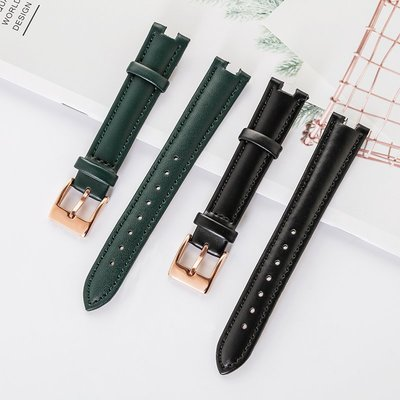 [Snoopy名錶商行]Linger古歐原裝手錶帶女真皮黑白綠棕色石英錶皮帶錶鍊帶