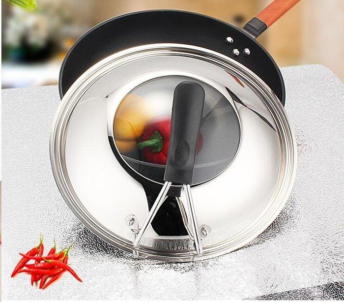 30 32 34cm炒鍋不粘 鍋可視可立鋼化玻璃鍋蓋不銹鋼鍋蓋
