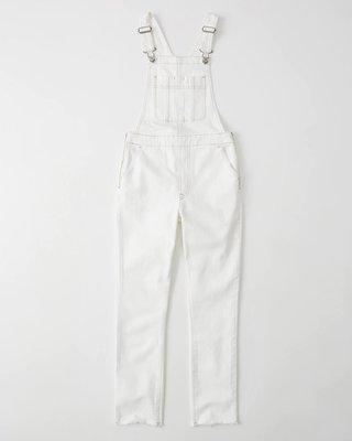 【天普小棧】A&F Abercrombie&Fitch Slim Overalls合身吊帶牛仔褲不修邊白色26腰現貨抵台