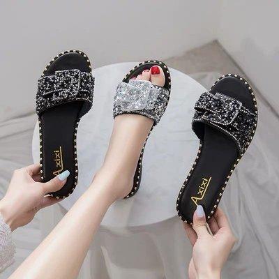 韓版水鑽平底拖鞋 大小碼女鞋35-43號 預購款