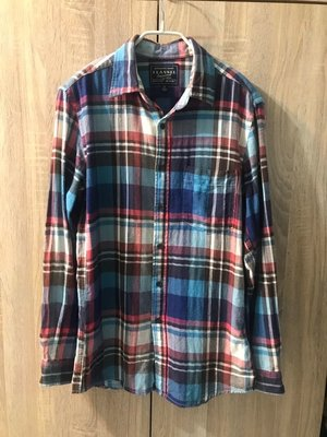 Uniqlo 優衣庫 秋冬 法蘭絨格紋襯衫 Flannel 居家休閒襯衫 襯衫外套 藍白紅格紋 棉質襯衫 男S