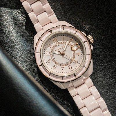 COACH美國精品手錶- 小香風水鑽 數字刻度陶瓷腕錶   粉 x 粉陶瓷