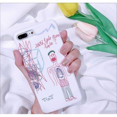 手繪塗鴉iphone6/6s/6plus手機殼iphone7/7plus全包磨砂軟殼情侣~粉紅豬小兔~i8plus