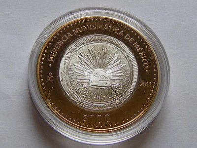 【鑒 寶】(世界各國錢幣)墨西哥2011年100比索雙色34克大銀幣幣中幣系列1824年鷹洋 精製 XWW1286