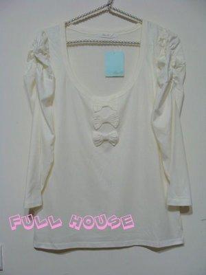 【FULL HOUSE 】日本超人氣品牌after all 白色皺摺公主袖設計七分袖 上衣 超好搭