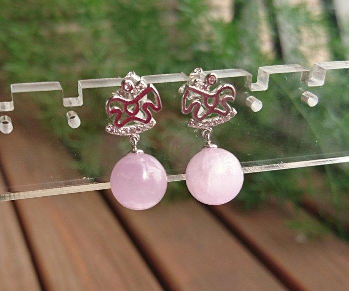 ~水晶花園~  天然能量石 帶來幸福能量 紫鋰輝石耳環