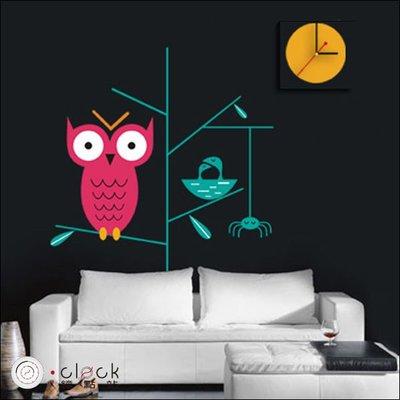 【鐘點站】 DIY 壁貼畫鐘 掛鐘 時鐘 靜音掃描 壁紙 牆壁貼鐘 寧靜夜的貓頭鷹(26B047)