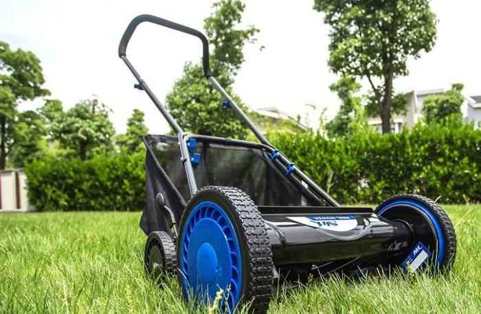 4輪手推式剪草機 草坪機16寸免動力割草機