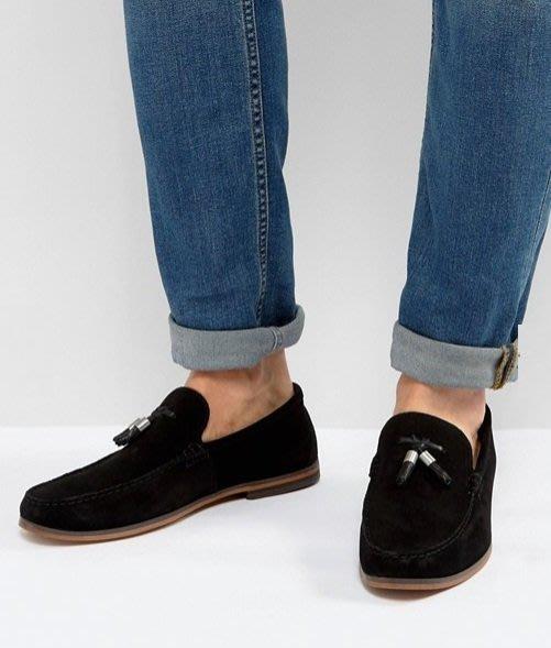 ◎美國代買◎ASOS皮革流蘇裝飾鞋面方圓楦頭英倫雅痞風黑色麂皮流蘇樂福鞋平底休閒鞋~歐美街風~大尺碼