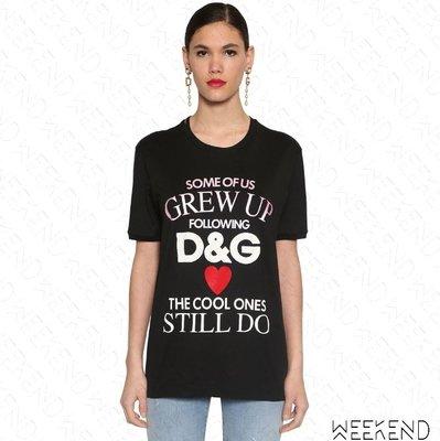 【WEEKEND】 DOLCE & GABBANA D&G Grew Up 短袖 上衣 T恤 黑色 19秋冬