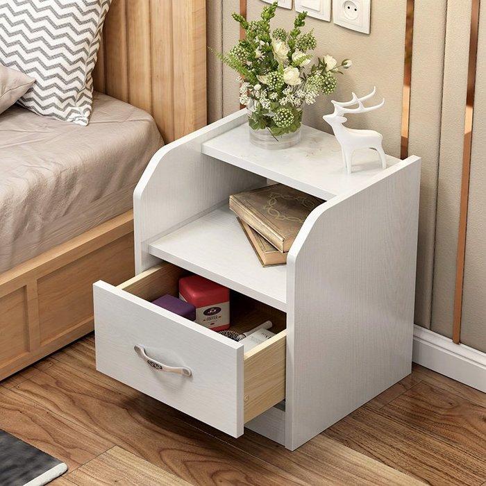 北歐實木床頭柜收納柜簡易儲物柜多功能經濟性臥室床邊小柜子組裝【優品城】