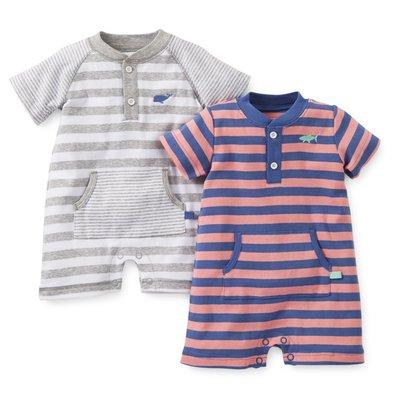 [[W&R]] ((0-24m)) Carter's 二件組 寶寶款大口袋 條紋連身衣 6m 現貨