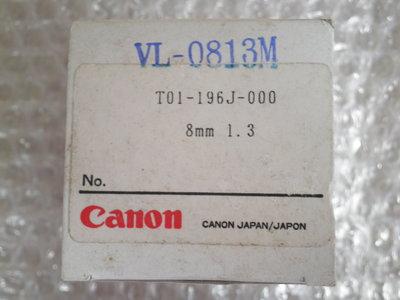 攝影機鏡頭/監視器/CCTV鏡頭/手動、自動變焦/攝像機/CANON/1:1.3/8mm攝影機鏡頭