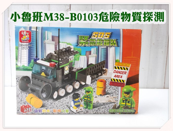 河馬班玩具-小魯班積木組-M38-B0103緊急救援隊-危險物質探測車,可跟樂高積木一起組合一樣好玩喔!!