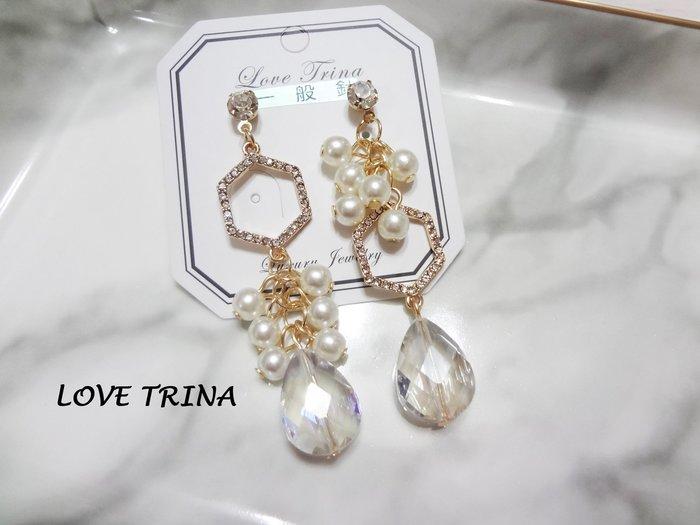 【Love Trina】8139-2548。 一般針。時尚幾何珍珠串X水晶流蘇款耳針式耳環--一般針(1色)