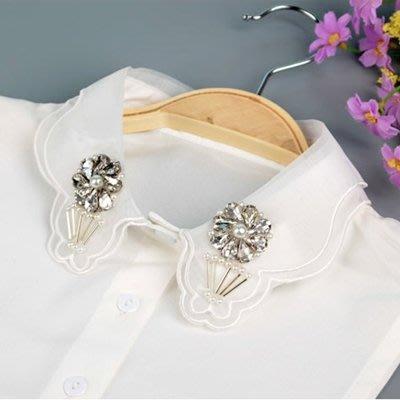 假領子 襯衫 領片-花朵鑲鑽白色雪紡女裝配件73va22[獨家進口][米蘭精品]