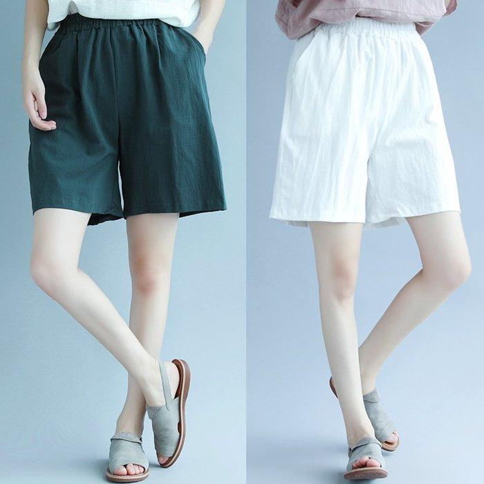 大碼女褲胖MM寬松顯瘦闊腿褲夏裝新款純色休閑百搭棉麻高腰短褲女