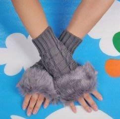 韓版仿兔毛針織手套 毛毛露指手套 時尚穿搭配件保暖毛線手套(灰色)-艾發現