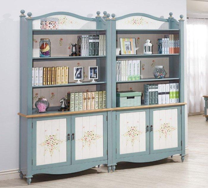 歐式仿古塗裝手工舊化處理彩繪裝飾花卉圖案書櫃(兩色可選)