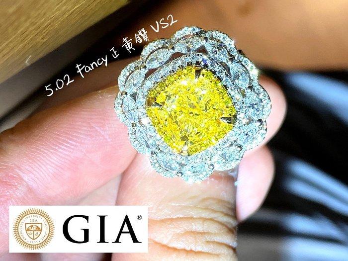 【台北周先生】天然Fancy正黃色鑽石 5.02克拉 罕見巨大 VS2 Even分布 18K金真金真鑽戒墜兩用 送GIA